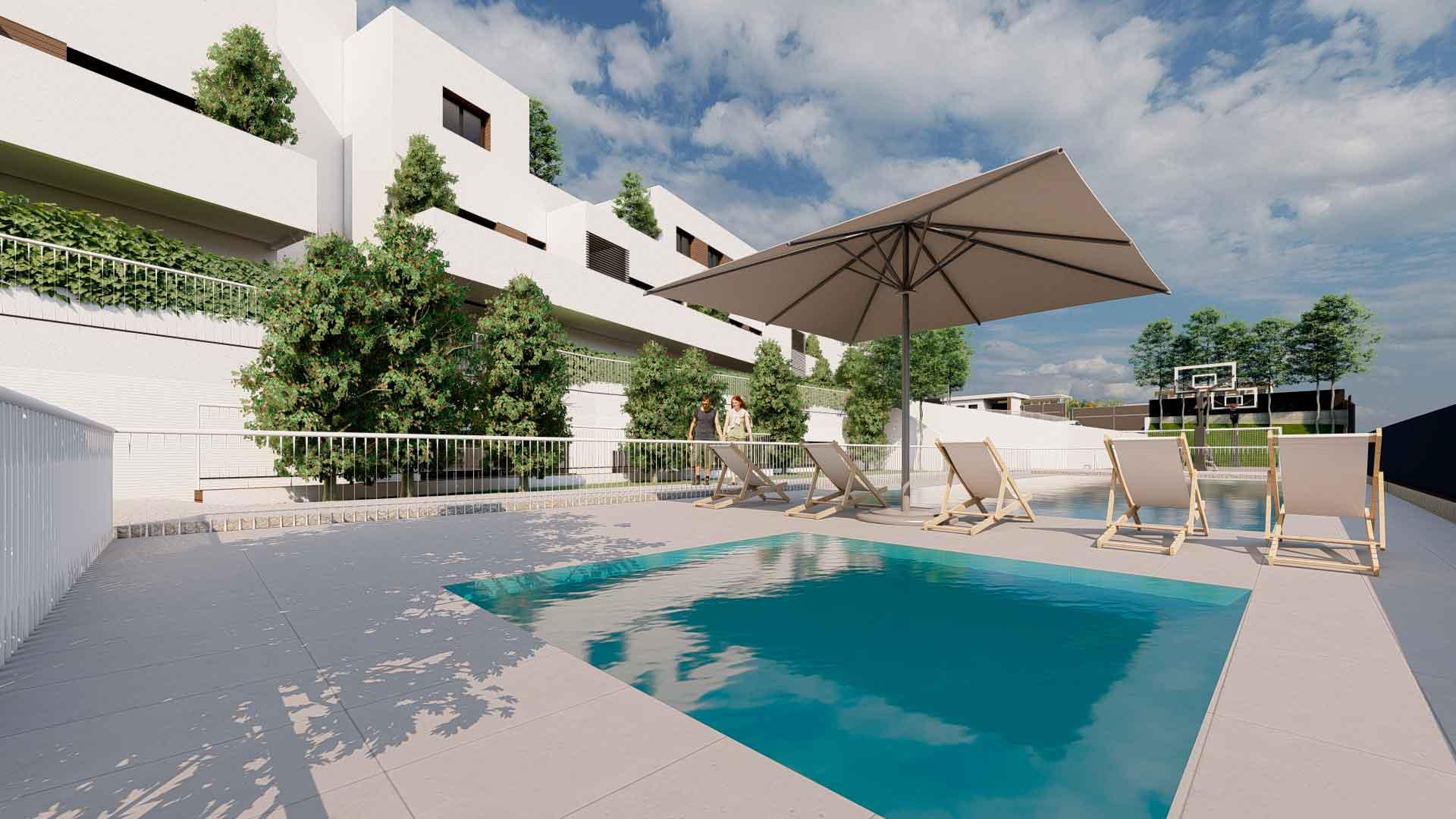 Amenidades, piscina privada en El Encinar.