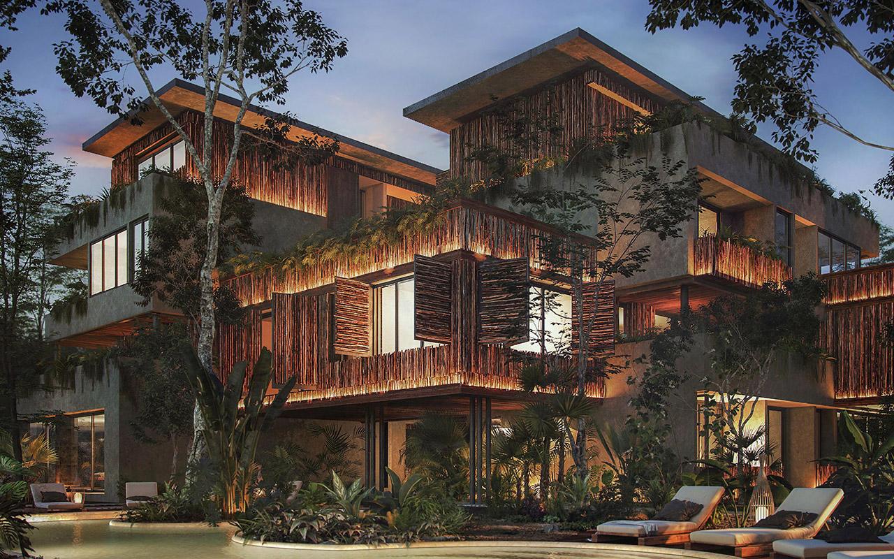 : Vista exterior de residencias en Humana Tulum, proyecto inmobiliario de Inmobilia.
