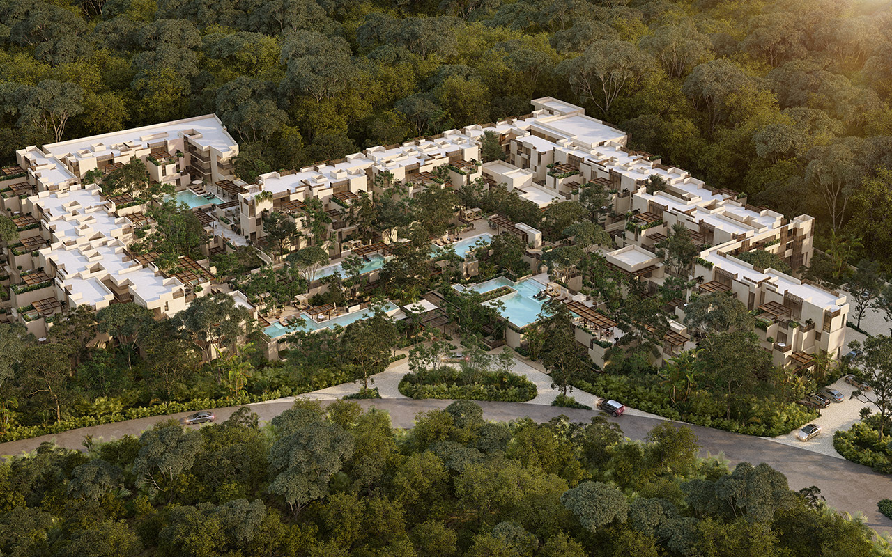 Vista aérea de proyecto Inmobilia, Gran Tulum en Tulum, México.