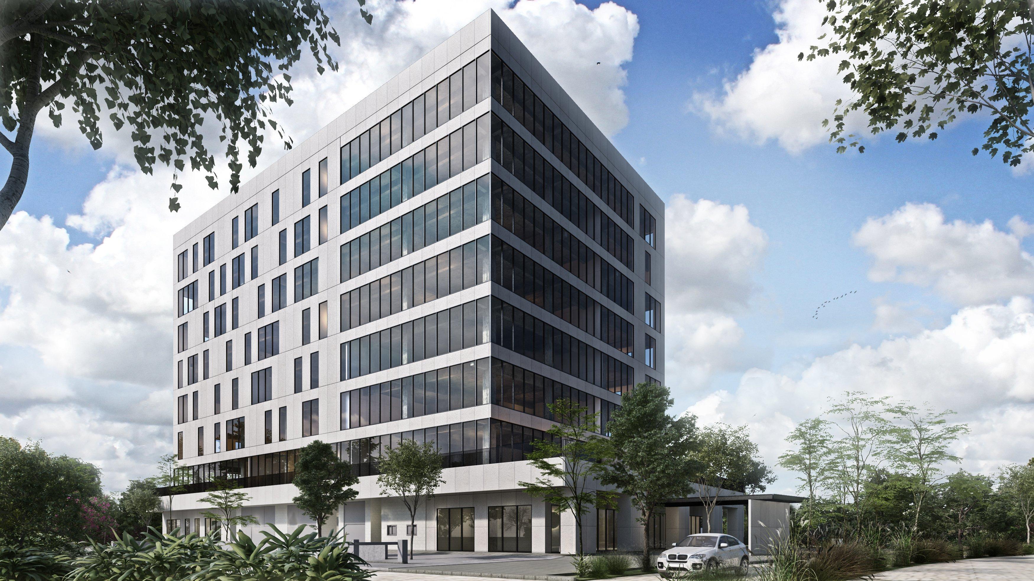 Vista frontal de proyecto Inmobilia, Torre Dos parque corporativo.